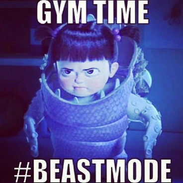 Boo from Monsters, Inc. Dressed as a monster with Gym Time #BEASTMODE